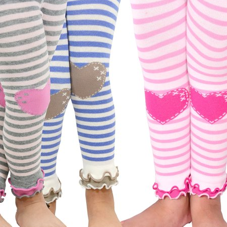 TeeHee Kids Girls Leggings with Ruffle Bottom 3 Pair Pack (Stripe with Heart)