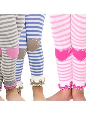 50afb0e71c34e7 Product Image TeeHee Kids Girls Leggings with Ruffle Bottom 3 Pair Pack  (Stripe with Heart)