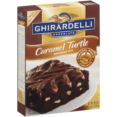 (4 Pack) Ghirardelli Chocolate Caramel Turtle Brownie Mix, 18.5 oz - Halloween Chocolate Brownies