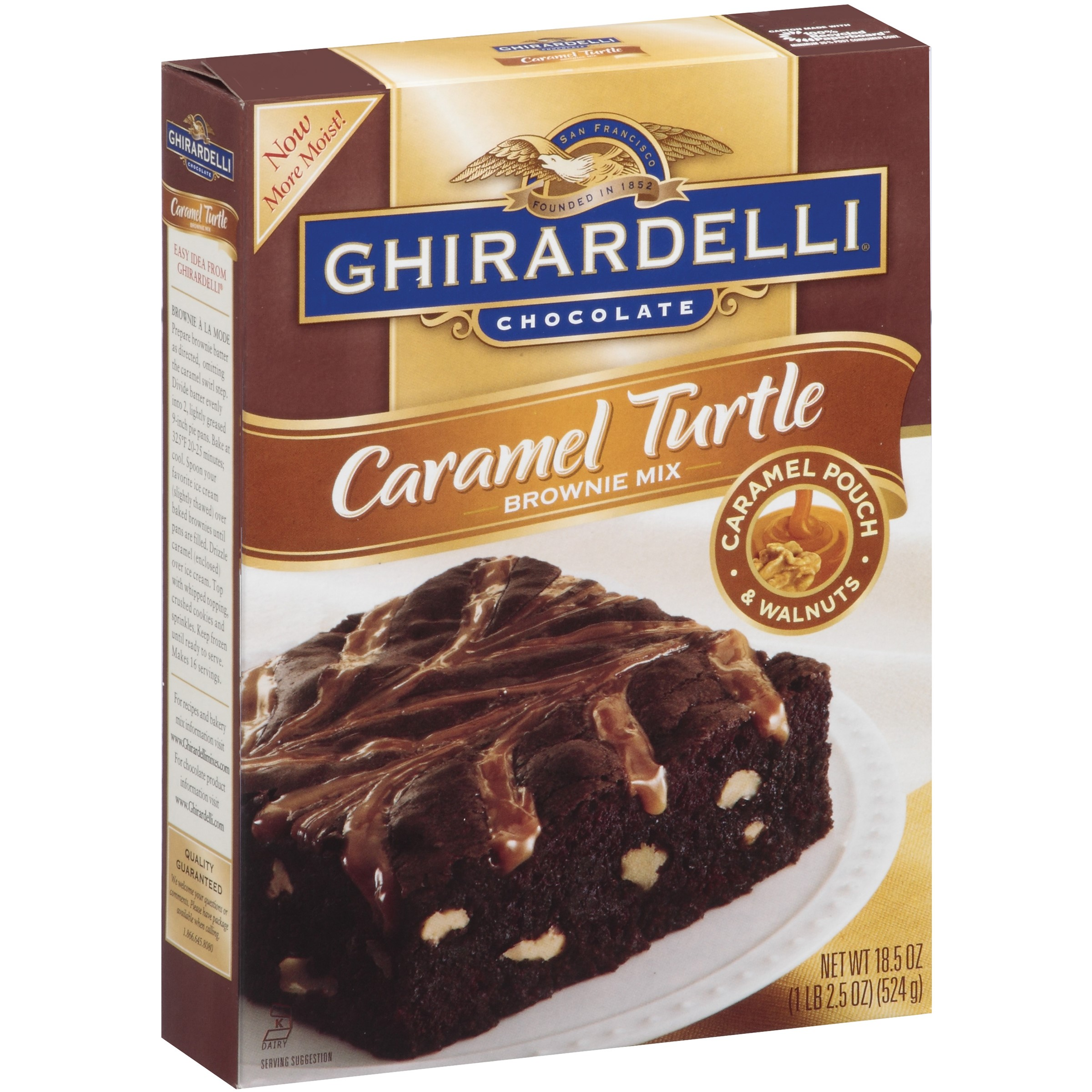 (4 Pack) Ghirardelli Chocolate Caramel Turtle Brownie Mix, 18.5 oz