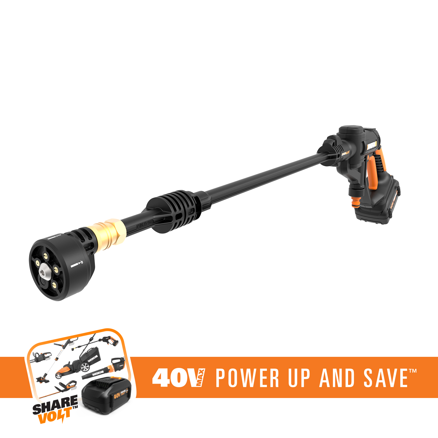 WORX WG640 40V Hydroshot Portable Power Cleaner With 5-in-1 Pressure Nozzle and Dual Mode Operation