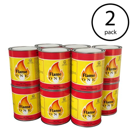 Traditional Gel Fuel Fireplace - Flame One Indoor or Outdoor Gel Fireplace Fuel in 13-Ounce Cans (24 Pack)