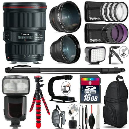 Canon 16 35Mm Is Usm   Pro Flash   Led Light   Tripod   16Gb Accessory Bundle