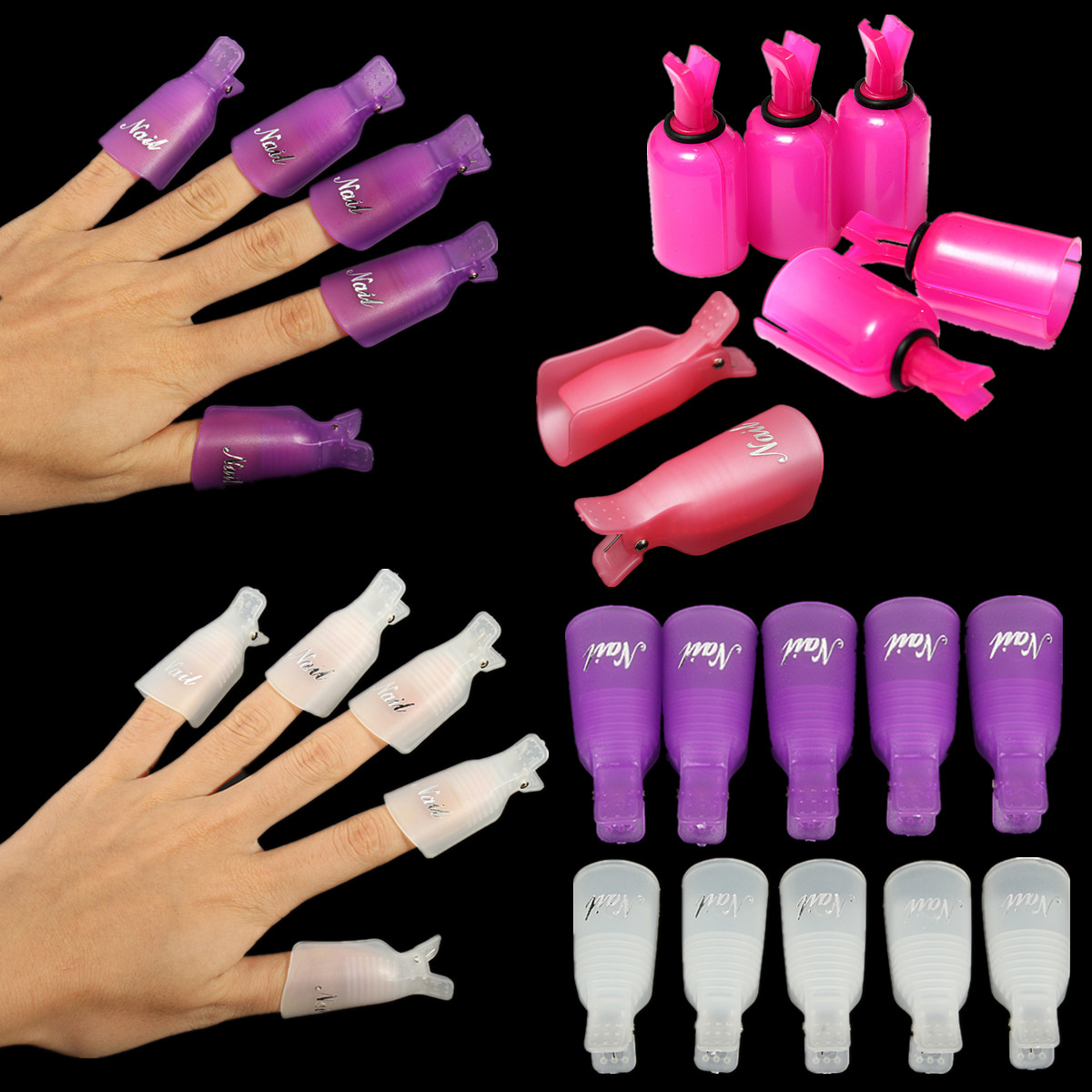 10PC Plastic Acrylic Nail Art Remover Soak Off Cap Clip UV Gel Polish Wrap Tools,White color