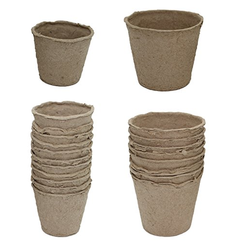 Pack of 20 Peat Pots Seed Planters in 2 Sizes