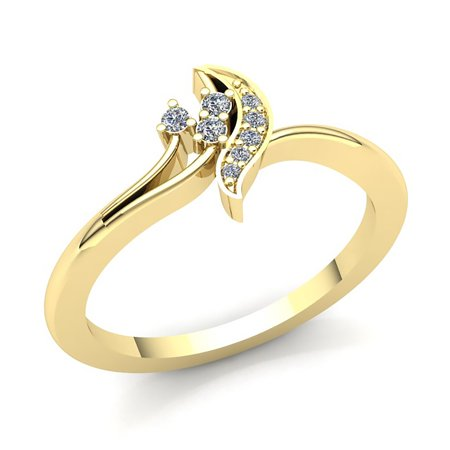 Genuine 0.5ctw Round Cut Diamond Ladies 3Stone Fancy Engagement Anniversary Ring Solid 10K Rose, White or Yellow Gold GH (Genuine Diamond Anniversary Ring)