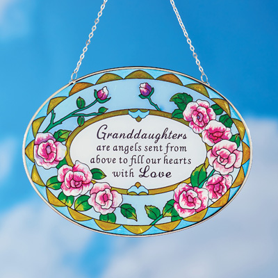 Beautiful Roses Granddaughter Suncatcher Gift - Stained Glass Colorful Outdoor or Indoor Window Hanging