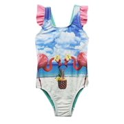 Infant Girls 1 Piece Pink Flamingo Swim Suit Swimming Bathing Suit
