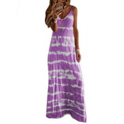 Women Summer Spaghetti Strap Maxi Dress Ladies Casual Sleeveless Sundress Party Holiday V Neck Long Dress Womens Print Boho Dress