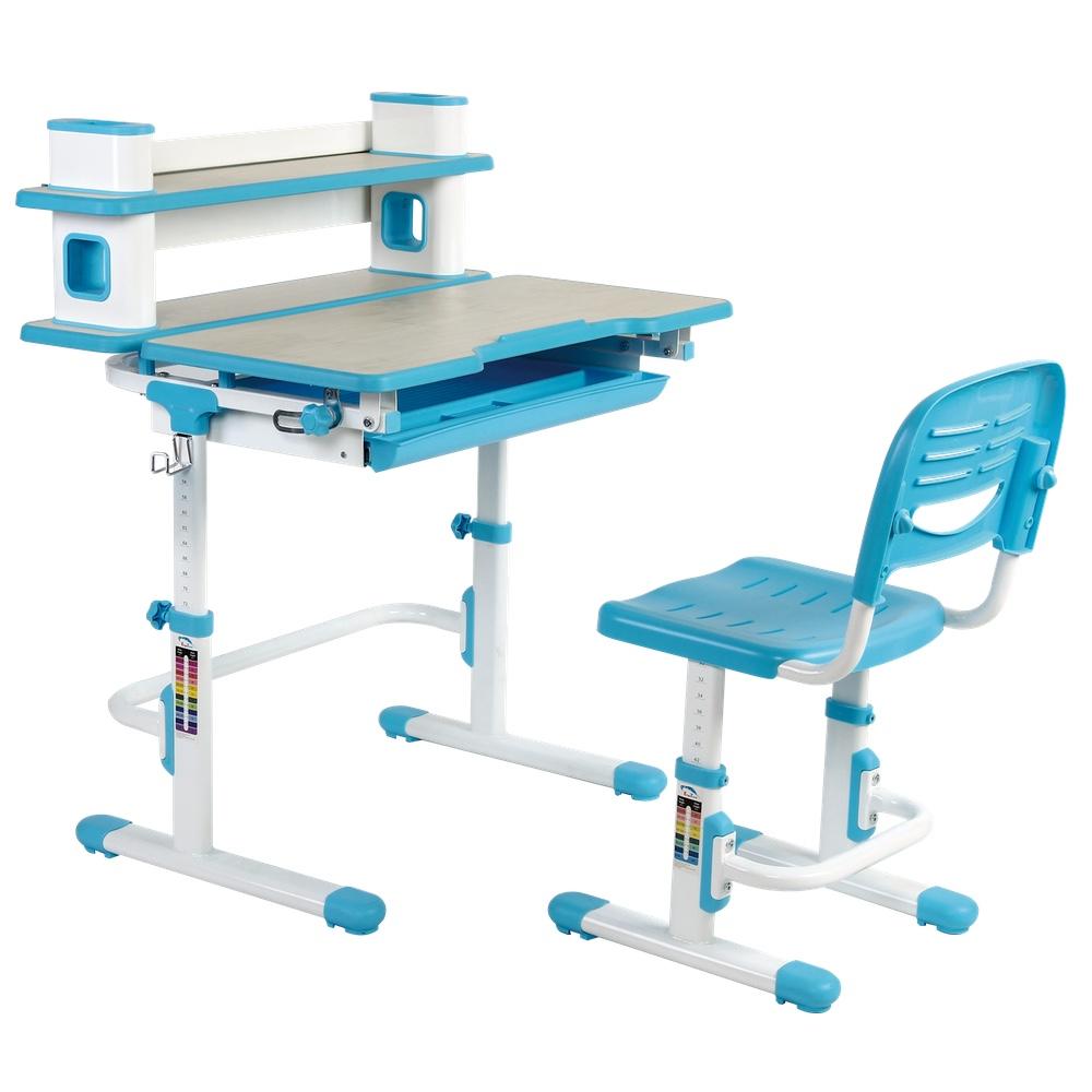 Einstein Kids Desk Chair Set Ergonomic Children S With Built In Book Shelf Arts Table Height Adjustment And Desktop Tilt Feature Blue