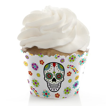 Day Of The Dead - Halloween Sugar Skull Party Cupcake Wrappers - Set of 12