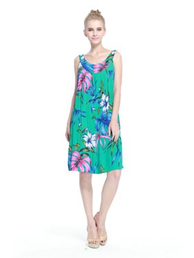7e145164cf8c8 Product Image Women's Hawaiian Crinkle Top Luau Dress in Pretty Floral Teal  L