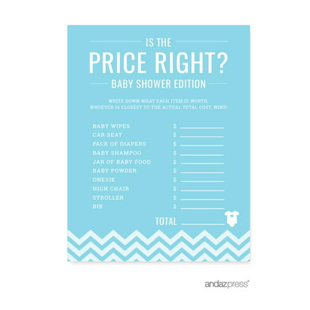 Modern Baby Shower Games (Is The Price Right? Baby Blue Chevron Baby Shower Games,)