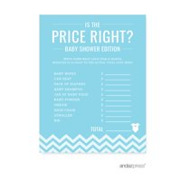 Is The Price Right? Baby Blue Chevron Baby Shower Games, 20-Pack