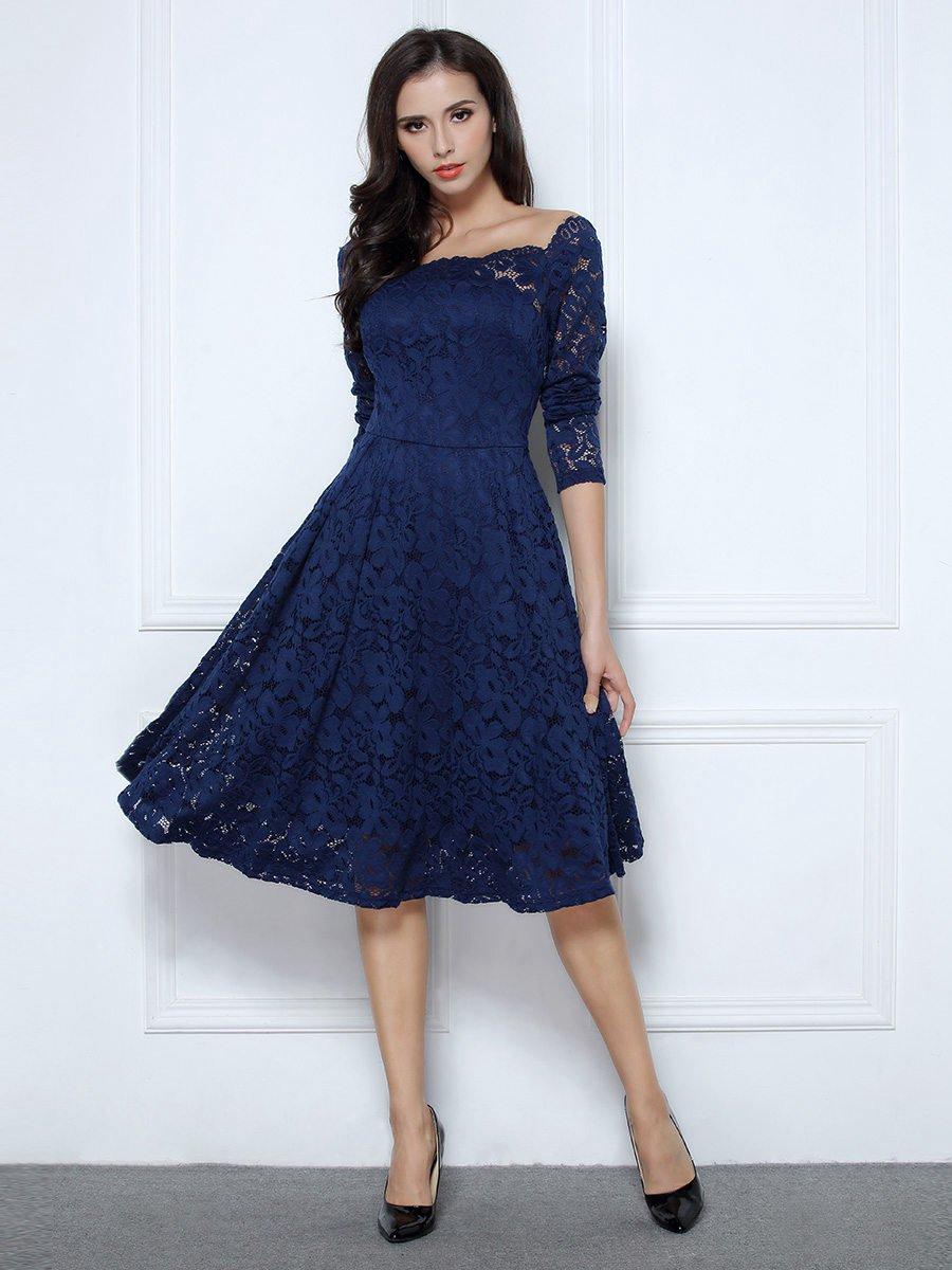 Lace Long Sleeve Swing Dress