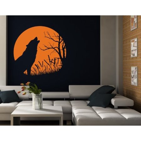 Howling Wolf Wall Decal - wall decal, sticker, mural vinyl art home decor - 3962 - White, 24in x 22in