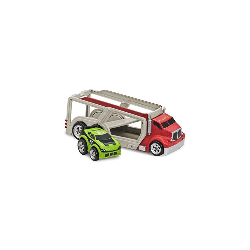 Kid Galaxy Squeezable Car Carrier Truck with Pull Back Race Car. Toddler Wind Up Vehicle... by