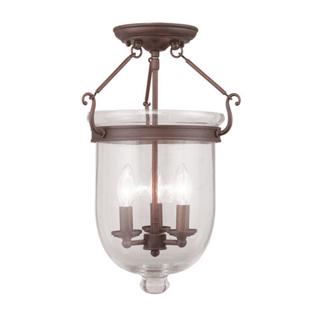 Semi Flush Mounts 3 Light With Clear Glass Imperial Bronze size 12 in 180 Watts - World of Crystal - Imperial Crystal Twelve Light