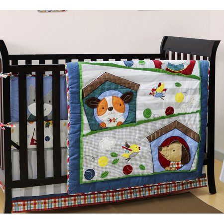 Belle Crib Bedding Set Puppy Theme Pals 4 Piece Baby
