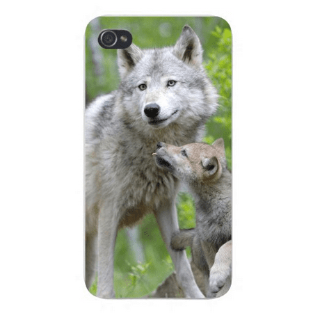 Apple Iphone Custom Case 4 4s White Plastic Snap on - Mother Gray Wolf Dog With Baby Pup Cub