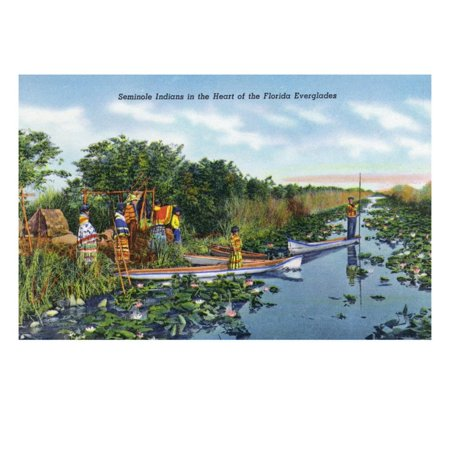 Fort Myers, Florida - View of Seminole Indians in Longboats on the Everglades, c.1948 Print Wall Art By Lantern (Stores In Fort Myers Florida)
