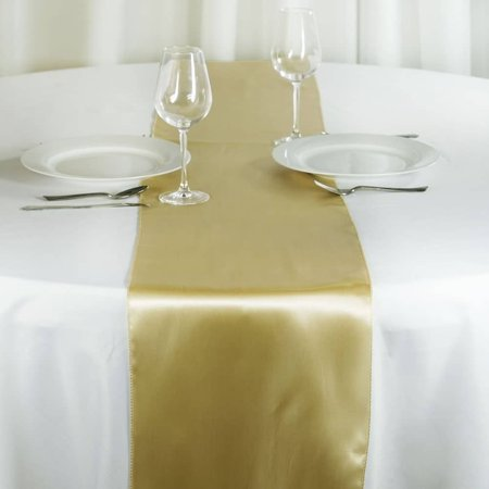 Satin Table Runner Wedding Party Banquet Champagne 12 x 108 ()