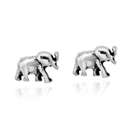 A Pair of Majestic Sterling Silver Elephant Stud Nose Ring