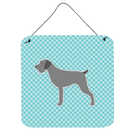 Blue German Wirehaired Pointer (German Wirehaired Pointer Checkerboard Blue Wall or Door Hanging Prints BB3711DS66)