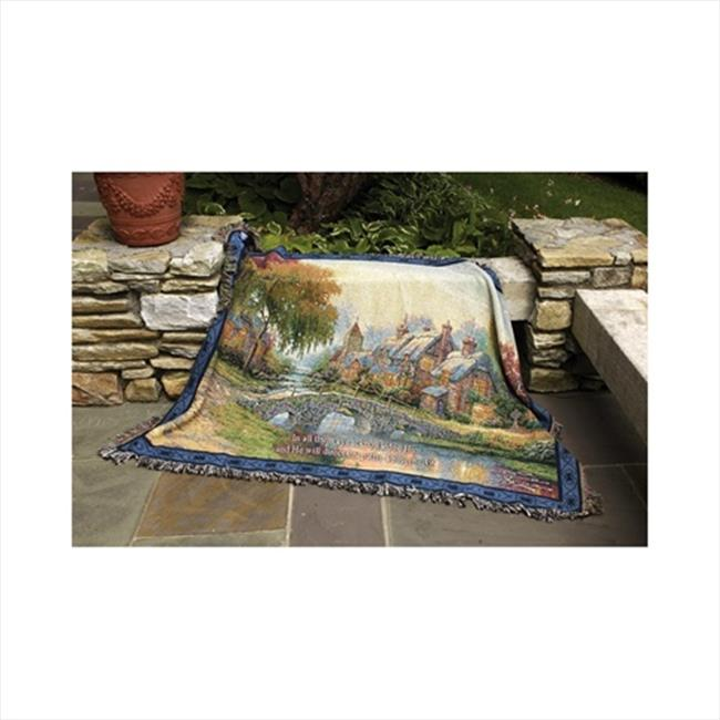 Manual Woodworkers and Weavers ATCBLV Cobblestone Bridge With Verse Tapestry Throw Blanket Fashionable Jacquard Woven 60 X 50 in.