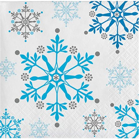Group 2 Ply Snowflake Swirls Beverage Napkin, Pack of 12 - 16 Per Pack