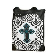 "Cross with Gothic Design 16"" Gusset Bottom Grocery Recycled Nylon Bag Tote Purse"