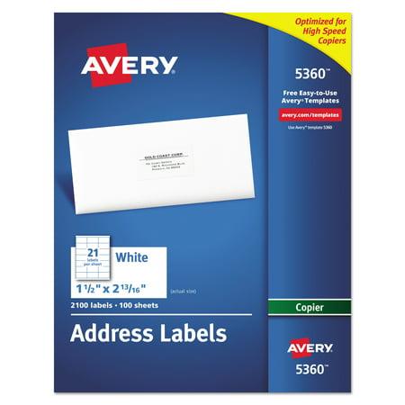 Avery Copier Address Labels 1 12 X 2 1316 White 2100box