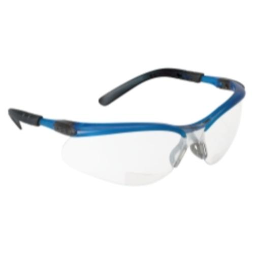 3m 11474 Bx Reader Safety Glasses With I o Mirror Lens, Blue Frame And +2.0 Diopter by 3M