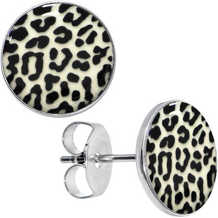 Body Candy Stainless Steel Leopard Print Glow in the Dark Stud Earrings (Glow In The Dark Leotard)