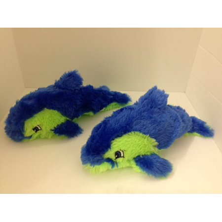 National Toy Pack of 2 Blue Furry Neon Dolphins Stuffed Plush Animal Toy
