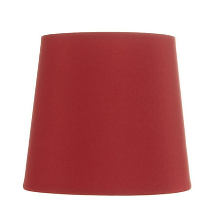 Red Silk Five Inch Clip on Chandelier Lampshade with Nickel Bulb Clip (Silk Shade Kit)