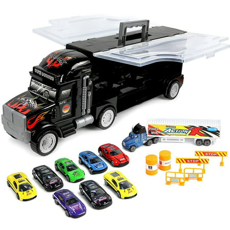 Click N' Play Transport Car Carrier Truck ,Loaded with Cars, Road Signs and More. Hold Up to 28 cars.Jumbo 22