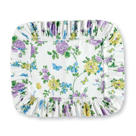 Spring Floral Butterfly Ruffled Plisse Pillow Shams - Seasonal Décor for Bedroom, Sham, Lavender