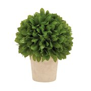 """DecMode 50854 Intricately Styled Vibrant Green Colored Vinyl Leaf Ball In Pot, 10"""" H x 8"""" W"""
