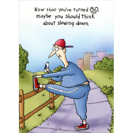 Oatmeal Studios Stretching Jogger Funny 80th Birthday Card