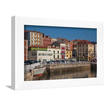 Buildings at the waterfront, Puerto Deportivo, Cimadevilla, Gijon, Asturias Province, Spain Framed Print Wall Art