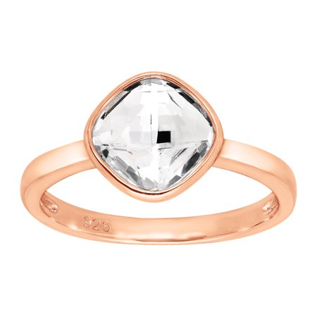 Swarovski Crystal Solitaire (Solitaire Ring with Swarovski Crystal in 18kt Rose Gold-Plated Sterling)