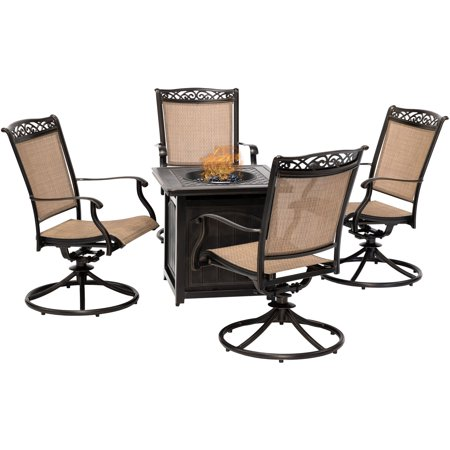 Hanover Fontana 5-Piece Fire Pit Chat Set with 4 Sling Swivel Rockers and a 26-In. Square Fire Pit