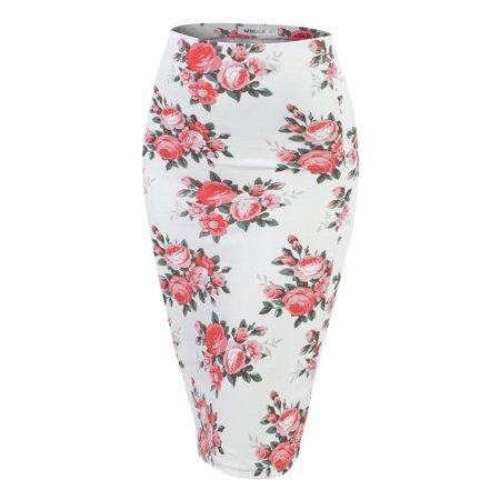 40b4784ab Doublju Stretch Knit Midi Pencil Skirt With Back Slit For Women With Plus  size IVORYROSE L