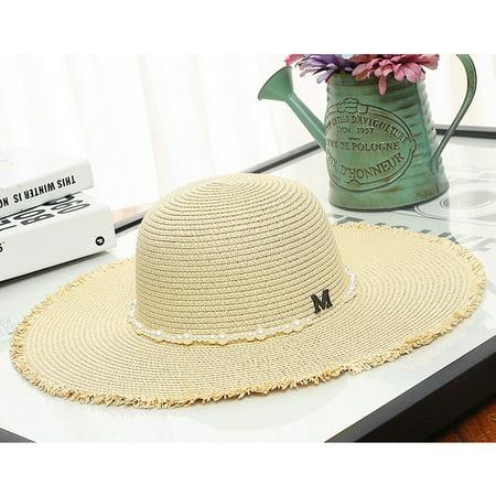 69f118ce8 Women Girls Foldable Wide Brim Sun Hat Beach Floppy Straw Sun Hat Sun Visor  Cap Sun Hat For Summer Holiday Travel