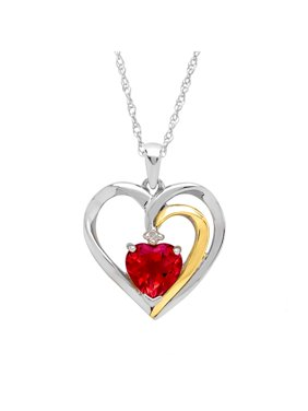 Ruby Heart Pendant Necklace with Diamond in Sterling Silver and 14kt Gold