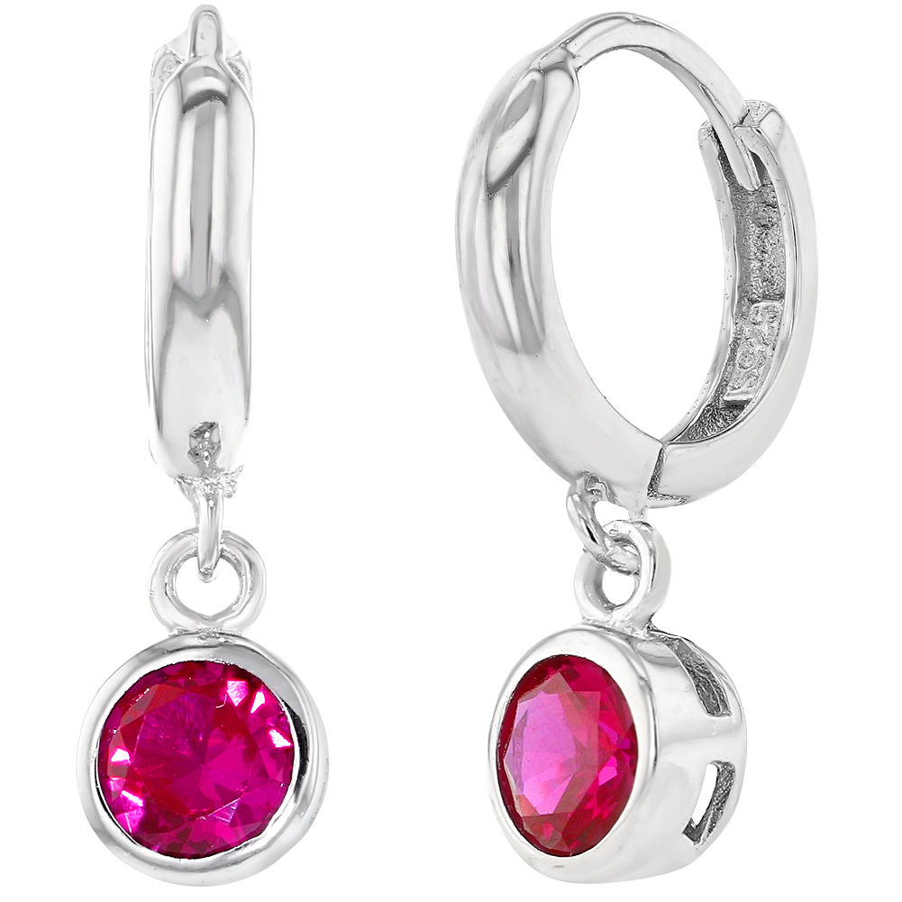 925 Sterling Silver Fuchsia Pink Girls Children Dangle Huggie Earrings 10mm