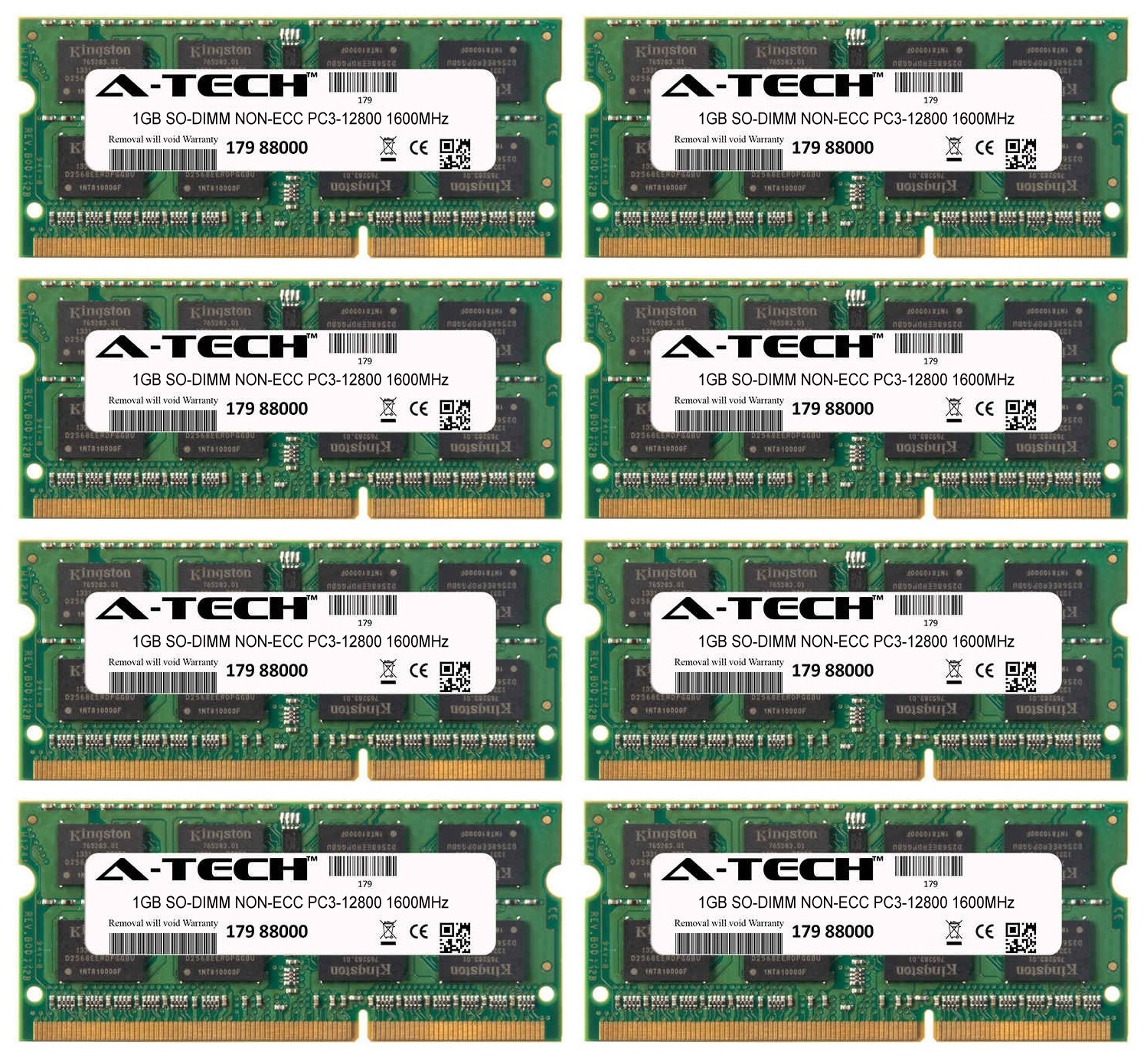 8GB Kit 8x 1GB Modules PC3-12800 1600MHz NON-ECC DDR3 SO-DIMM Laptop 204-pin Memory Ram