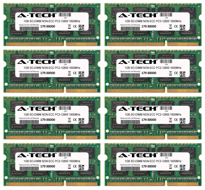 8GB Kit 8x 1GB Modules PC3-12800 1600MHz NON-ECC DDR3 SO-DIMM Laptop 204-pin Memory Ram