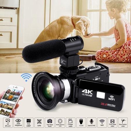 "1080P 4K FULL HD Camcorder Digital Video Camera DV 3.0"" IPS LCD Screen 16x Zoom 270 Degrees Rotation with Extra Pro Microphone for Sport/Youtube/Short Films Video Recording (Black)"